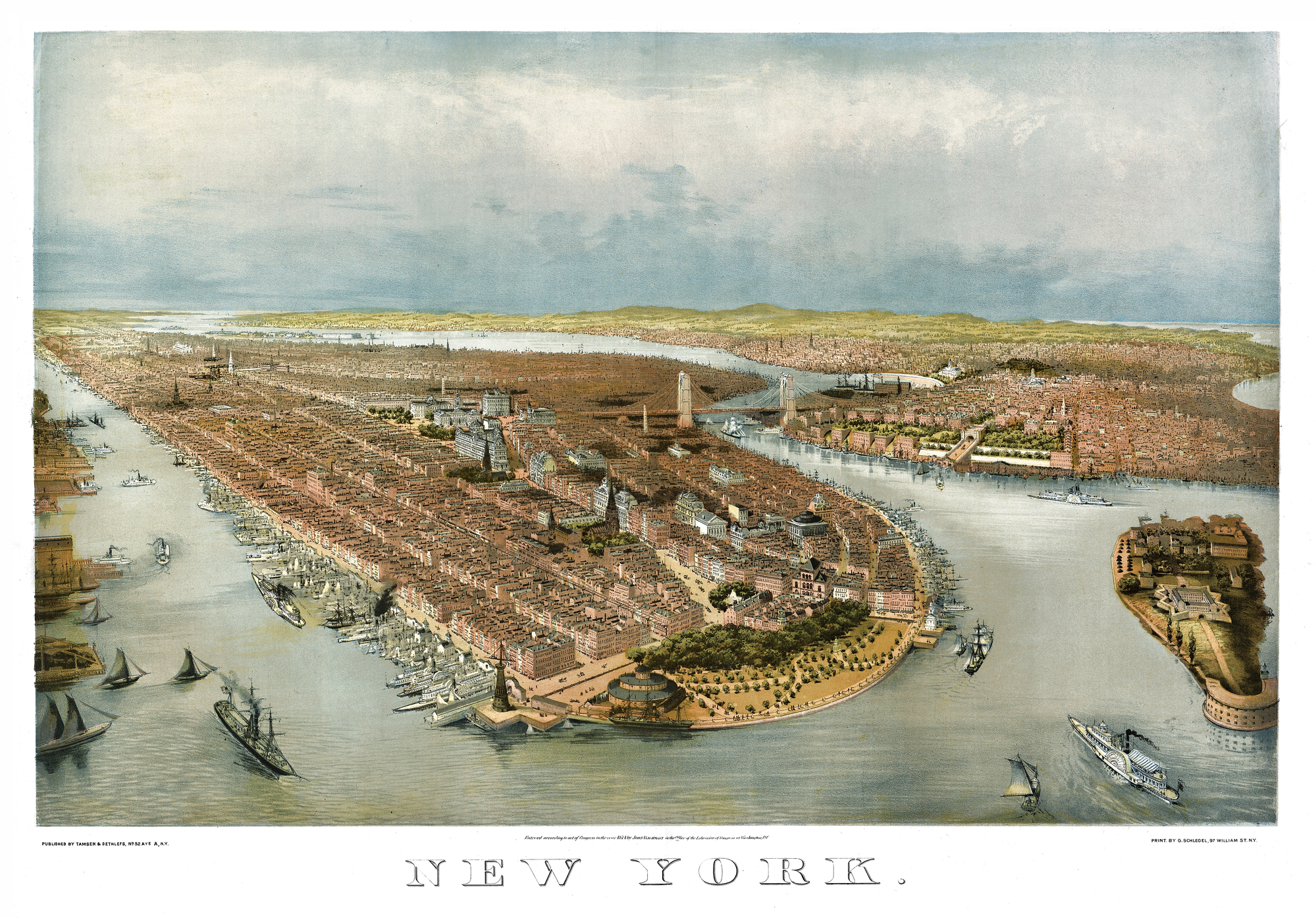 Old aerial view of New York. By John Bachmann and George Schlegel. Publ. Tamsen & Dethlefs New York, 1874