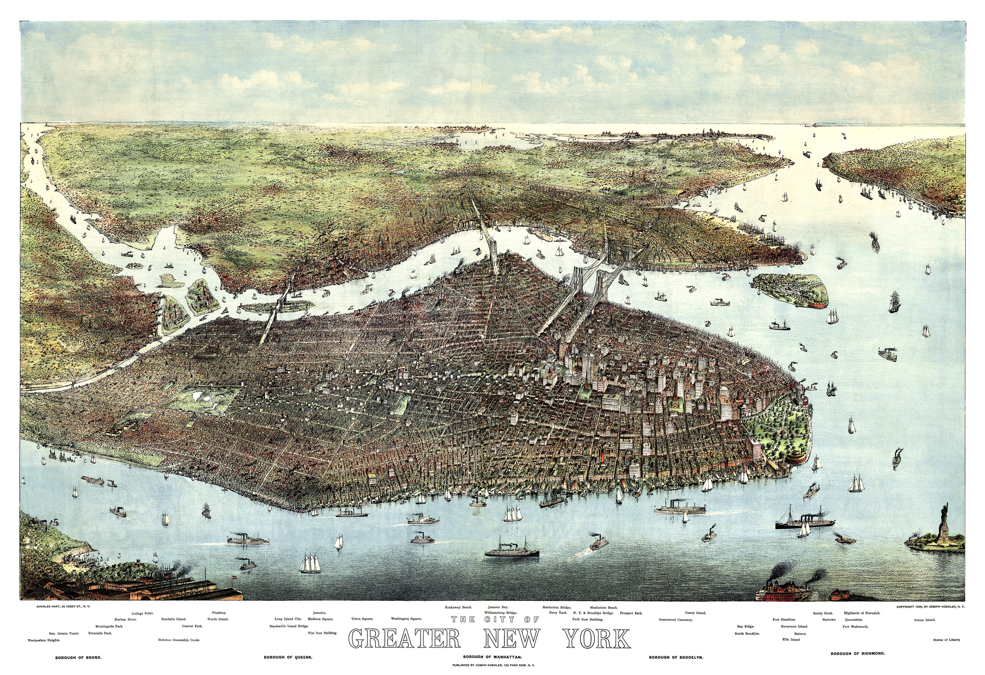 Old aerial view of New York. By Charles Hart. Publ. Joseph Koeher, New York, 1905
