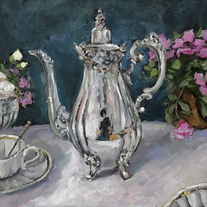 Silver teapot and an antique white porcelain cup of tea in the Custom Of The Country